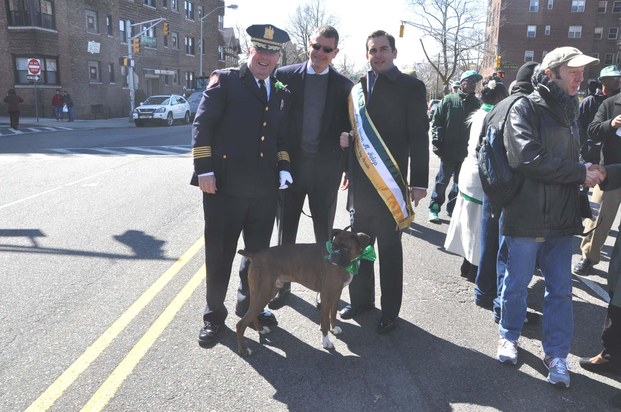 Former Chief Cowan with Jersey City Mayor Steven Fulop and Public Safety Director Jim Shea at the March 16th 2014 St. Patrick Day Parade.